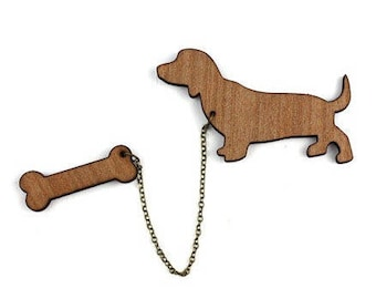 "Natural wood brooch ""Dog and his bone"" Kit"