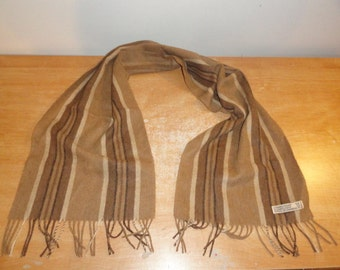 Men's Vintage 100% Camel Hair Multi-Color Stripped Scarf Neckwear Made In West Germany