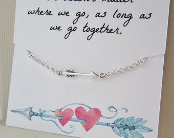 Jewelry with message card, Arrow bracelet, girlfriend gift, wife gift for her, sterling silver bracelet with message card, simple bracelet