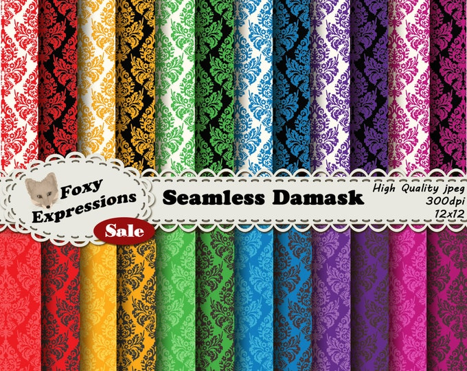 Seamless Damask comes in 6 colors each in 4 styles, 24 papers total. Each paper seamlessly tiles together to easily make backgrounds, etc.
