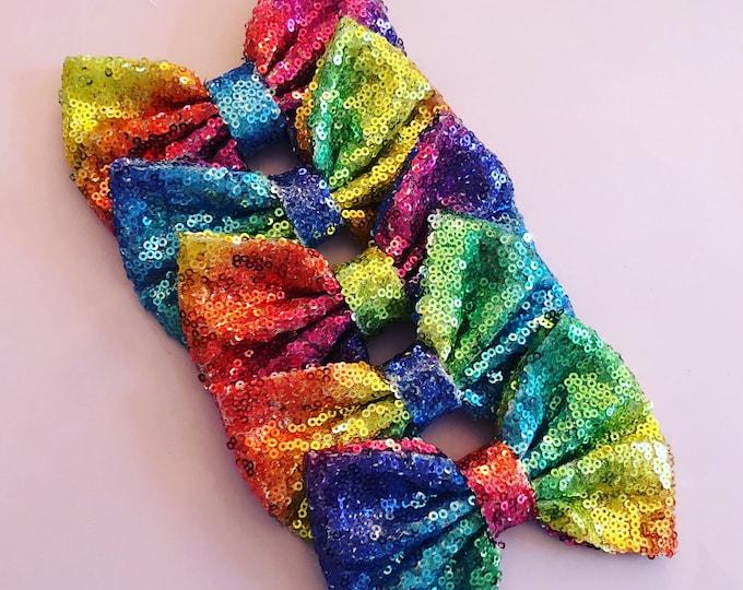 Rainbow Sequin Bow Clip or Headband || Rainbow Birthday || Rainbow Sequin || Rainbow Hair || Large Bow || Ready to Ship