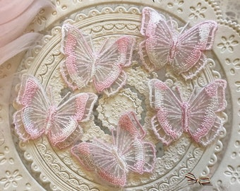 20pcs 4.5*5.5cm  pink organza butterfly embroidery lace appliques patches L14Q187 free ship