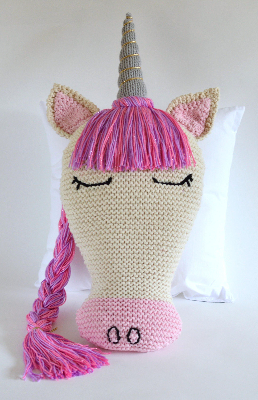 KNITTING PATTERN Unicorn Pillow Sleepy Unicorn and Cloud Pillow ...