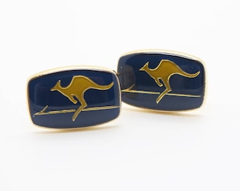 Rectangle Kangaroo Cuff Links Gold Plated Metal with Blue Enamel Cufflinks