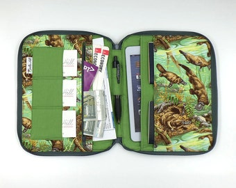 """DELUXE Family Travel Wallet for 2-4 passports & travel document holder in """"Platypus"""" by Joella Hill Australian Seller"""