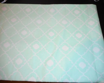 Teal and White Blue Lattice Work Cotton Fabric