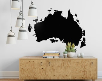 Australia Map Wall Decal, Pictorial Style Map, Decals, Decor stickers, Wall Tattoo, Oceania, Kangaroo, Koala, Flamingo, Ostrich, Snakes, Cat