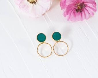 Circle Drop Earrings, Gold Circle Earrings, Vintage Earrings, Gold Plated Jewelry, Unique Gift, Gold Earrings For Women, Teal Earrings