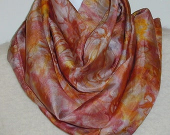 Silk Scarf Hand Painted, Tan and Golden Yellow, Free Shipping, Great Gift