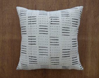 """Authentic  Mudcloth Pillow Cover, Double sided ivory mud cloth pillow, Tribal Pillow Cover for 20"""" x 20"""" Pillow Inserts"""