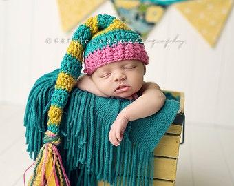 Elf Hat in Teal/Mustard/Pink