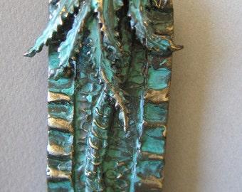 Mezuzah, Jerusalem Palm in Bronze with Green Patina by Ruth Shapiro