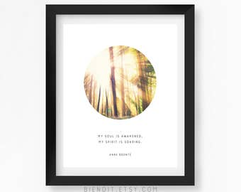 My Soul is Awakened, Anne Bronte, Quote Print, Literary Quote, Poetry, Literary Print