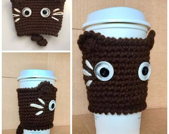 Crochet CAT Coffee Cup Cozy, Kitty Cup Warmer, Brown cat coffee cup warmer, Kitty cup warmer, Kitty cat cup holder