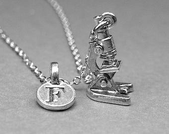 Microscope necklace, microscope charm, lab microscope, laboratory microscope, personalized necklace, initial necklace, initial charm, letter