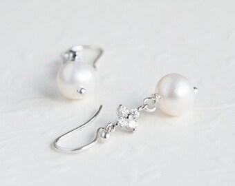 Crystal Bridal Earrings - White Pearl Earrings- Wedding Jewelry