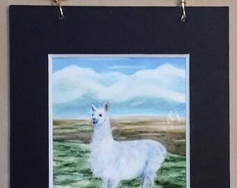 Llama watercolor mini print magnet with hanger