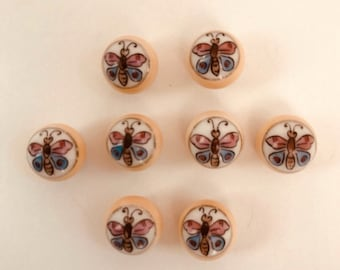 Vintage Butterfly Hand Painted Buttons