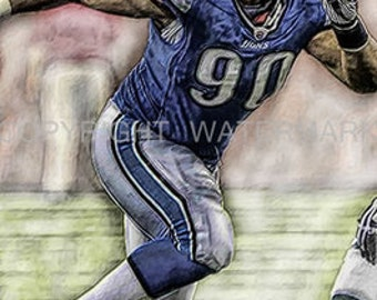 New Ndamukong Suh Detroit Lions Illustration/ Print sn only 50, 12 x 18
