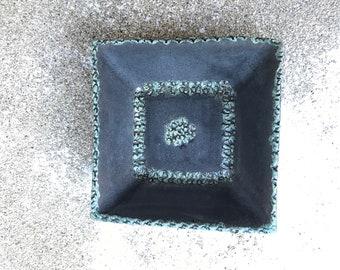 Raku, Turquoise, Square bowl