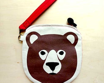 Bear Purse, Bear Wristlet, Bear Print, Bear Gift, Wristlet Clutch, Wristlet Pouch, Zip Clutch - With Random Strap Color & Fabric Print Back