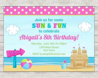 Beach Birthday Invitation, Beach Party Invitation, Beach Girl - Digital File (Printing Services Available)