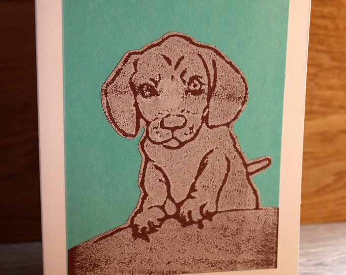 Dachshund Greeting Card, Blank inside, Hand printed and paper cut on to green background, love dogs, pooch, fur baby, pet, woof, Birthday.