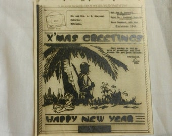 Flash 50% off sale Vintage WW2 X Mas Greetings from the South Pacific 1944 V Mail Card