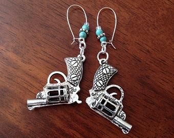 Earrings, Gun Pendant Earring, Cowgirl Earrings, Turquoise Earrings, Bridesmaids Earrings, Western Earrings, Pistol Earrings