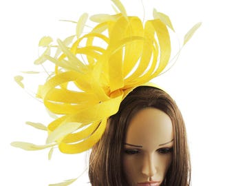 Persian Yellow Fascinator Hat for Weddings, Races, and Special Events With Headband