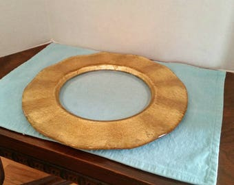 Gold and Clear Glass Circular Serving Platter