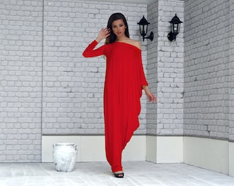 Red Kaftan Dress, Red Maxi Dress, Plus Size Clothes, Asymmetrical dress, Kaftan Maxi Dress, Plus Size Dress, Oversize Loose Dress