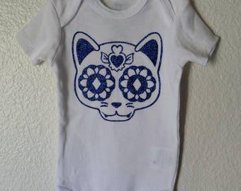 Royal blue glitter CAT sugar skull baby onesie!