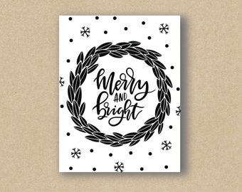 Merry & Bright Wreath - Greeting Card - Holiday Card - Christmas Card