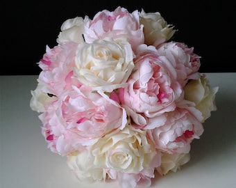 Pink and Ivory Silk Flower Wedding Bouquet-Ready to Ship Bridal Bouquet-Peony Bouquet-Pink Wedding Bouquet
