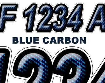Blue Carbon Boat Registration Numbers or Letters Decals Vinyl Names and  Custom Text Stickers