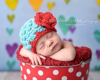 Baby Flapper Beanie in Red/Aqua with detachable Crochet Flower/Valentines