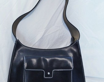"1990s New York Style bag Black  11"" X 10"" X  2 1/2""  HandBag  Excellent  Condition  Leather  On SaLe Now"