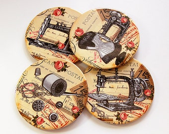 Drink Coasters, Sewing Coasters, Coasters,Wine Coasters, Quilting Coasters, Gift for Quilter, Gift for Sewer, Vintage Sewing (5200)