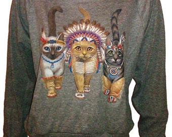 """Three Native Kitty Cats Pullover Slouchy """"Sweatshirt""""  Top American Apparel Gray M"""