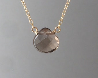 Brown Smoky Quartz Necklace available in gold, rose gold, or silver