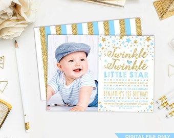 1st birthday invitations boy etsy boys twinkle twinkle little star invitation blue gold party invite baby prince shower glitter confetti stars first 1st birthday tt3 filmwisefo