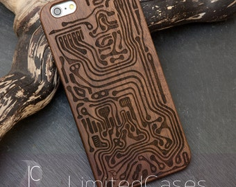 """Case for iphone 6 Plus, 6s Plus with walnut-wood pad, laser engraving """"track"""""""