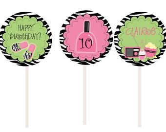 Slumber Birthday Party Cupcake Toppers --  Slumber Party - sleepover party cupcake toppers