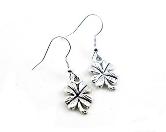 Antiqued Silver Vintage Style Four Leaf Clover Dangle Earrings