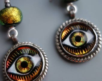 Art Glass Eye Sterling Earrings