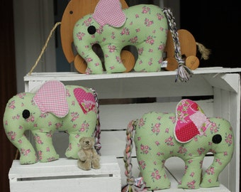 handmade lephant in green and rose; fabulous toy to keep or give away as a gift; cuddly toy for girls; decorative piece for your home