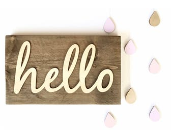 Hello sign - Hello wall art - Wooden hello sign - Rustic sign - Country home decor - Farm house sign - Greeting sign - Nursery decor