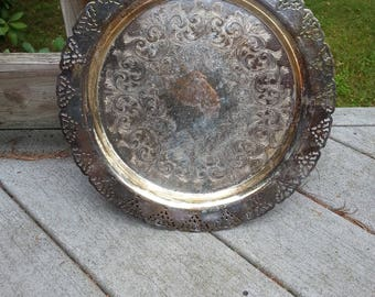 silverplate tray, vintage silverplate tray, silverplate platter,