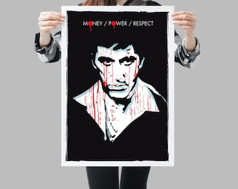 Scarface movie Poster - Wall art cult film design - Alpacino pop style portrait - Available in different sizes